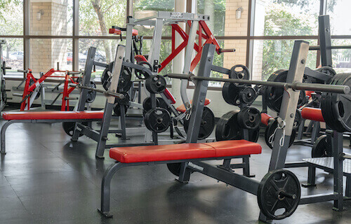 Weight room in the Shannon Center