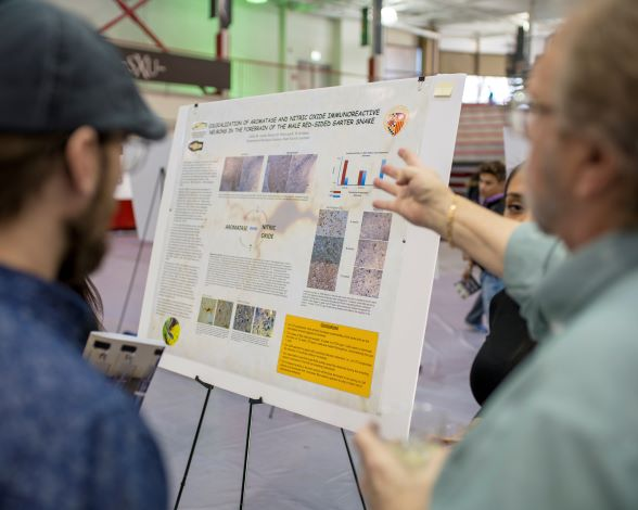 Student and faculty at 2019 Research Expo