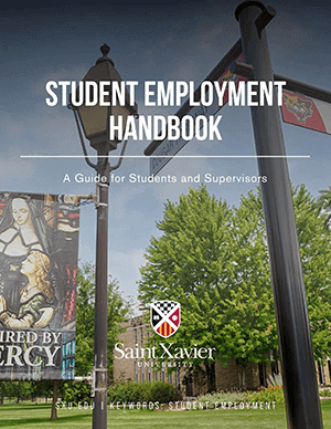 Student Employment Handbook cover with the Mercy street sign on campus