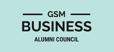 GSM Alumni Council logo with black lettering and light blue