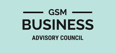 GSM Business Advisory Council logo with black lettering and light blue background