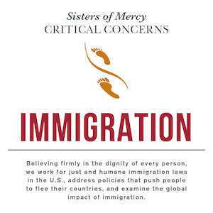 Sisters of Mercy Critical Concern with Immigration and a quote underneath