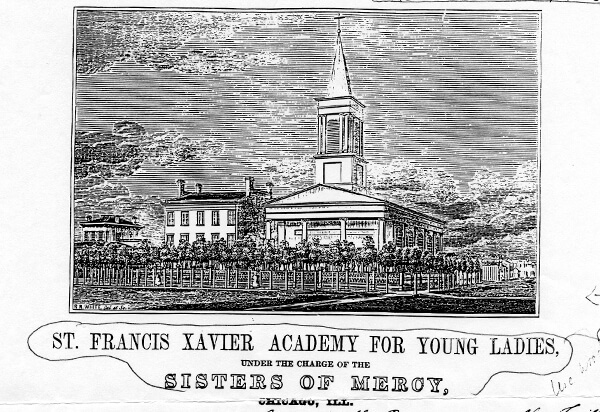 Sketch of St. Francis Xavier Academy building in black and white