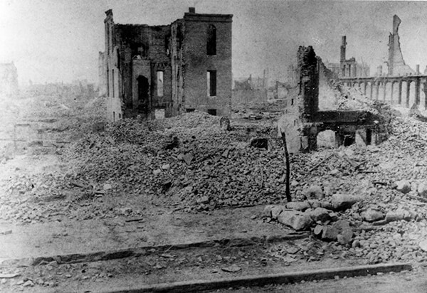 Black and white photo of St. Xavier Academy in ruins after the Great Chicago Fire