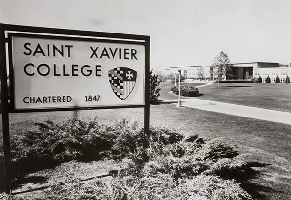 Saint Xavier College first sign on 103rd and Hamlin