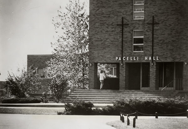 Black and white picture of Pacelli Hall