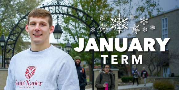 SXU January Term Graphic with smiling student