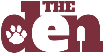the den logo in red and white with a paw in the D