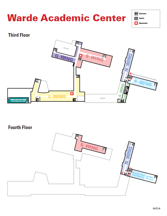 Warde Academic Center Map, Floors 3-4