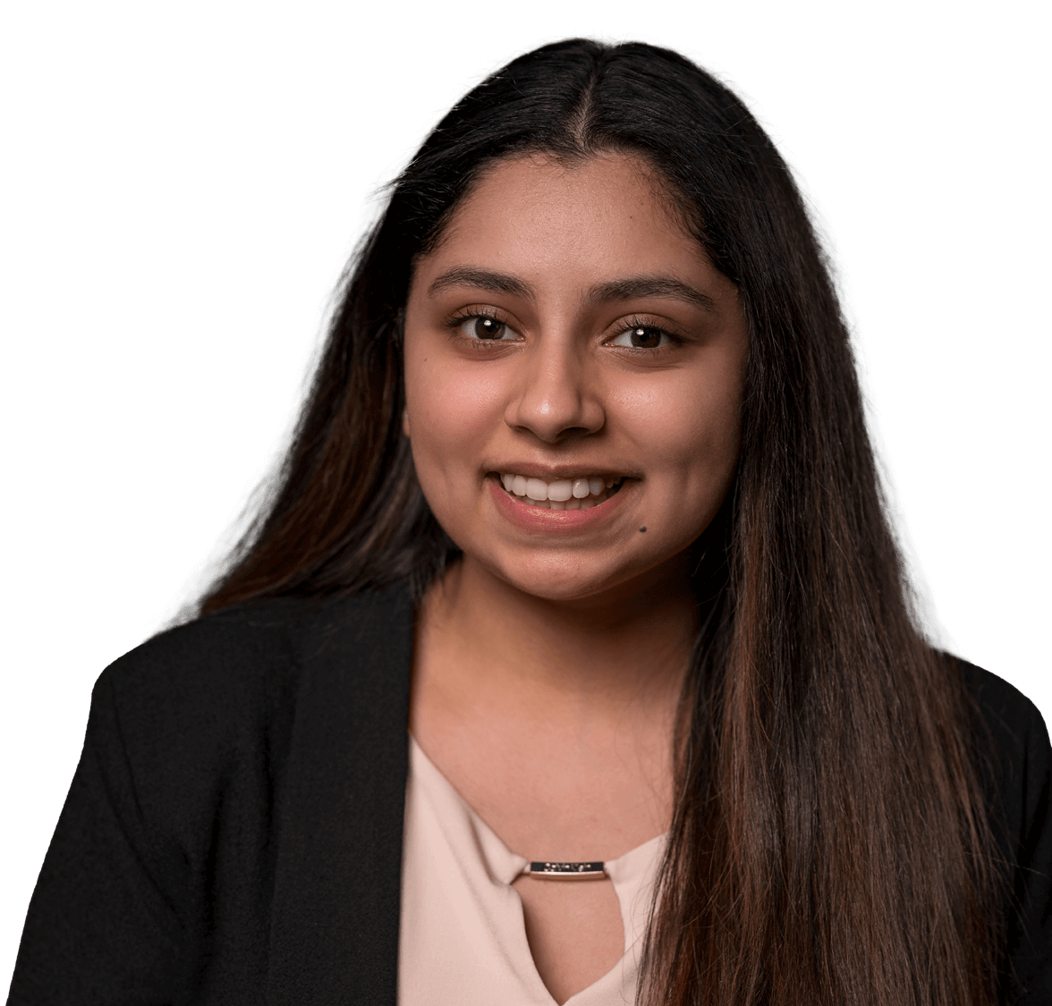 Elizabeth Martinez, student in a blazer with a pink top
