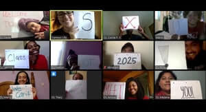 Via orientation leaders on zoom welcoming students to SXU