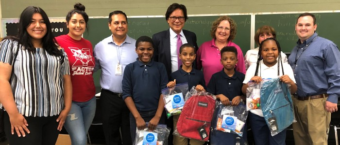 GSM donates backpacks to an elementary school feature story